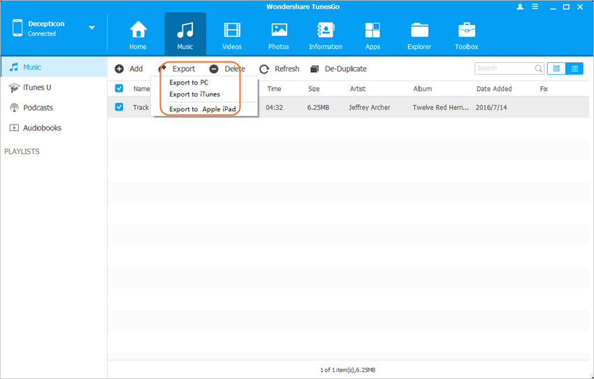 Transfer Files from iPhone to iPad with Wondershare TunesGo - Transfer Files from iPhone to iPad