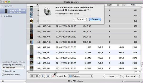 trasferire foto da ipad a flash drive utilizzando acquisizione immagine