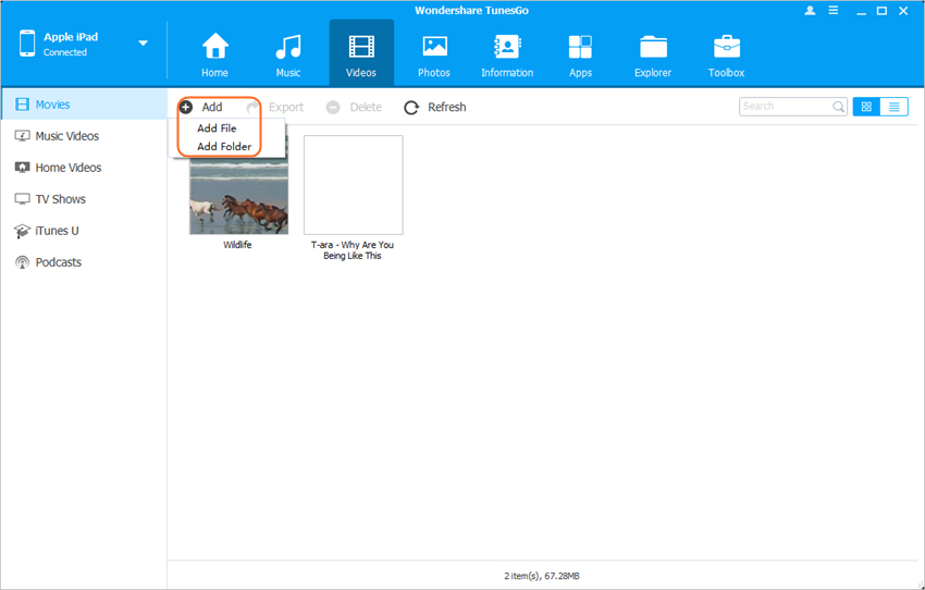 trasferire file da mac a ipad con wondershare tunesgo