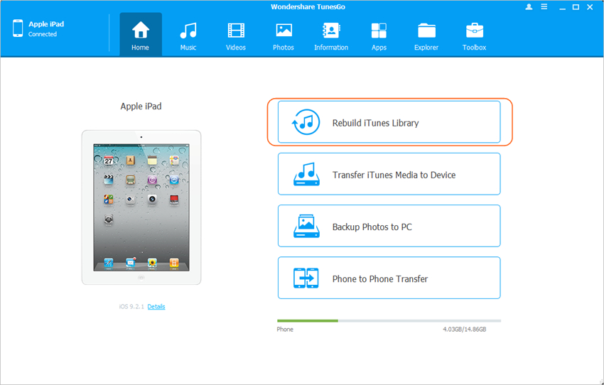 transfer selective playlists from iPad to iTunes using TunesGo - Rebuild iTunes Library
