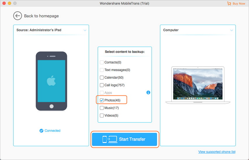 Transfer Files from iPad to Mac Using MobileTrans - Select File Types