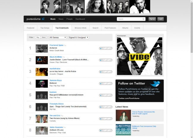 Download Music from Purevolume to PC - Select Artist