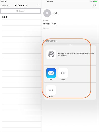 Transfer Contacts from iPad to iPhone - Select Contacts