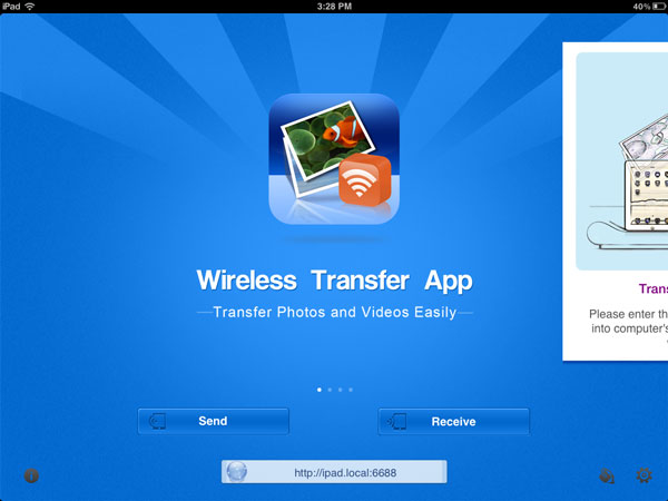 Transfer Photos from iPad to iPhone - using mobile app step 2