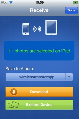 Transfer Photos from iPad to iPhone - using mobile app step 3-2