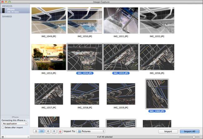 utilizzare acquisizione immagine per trasferire rullino fotografico da iphone a mac