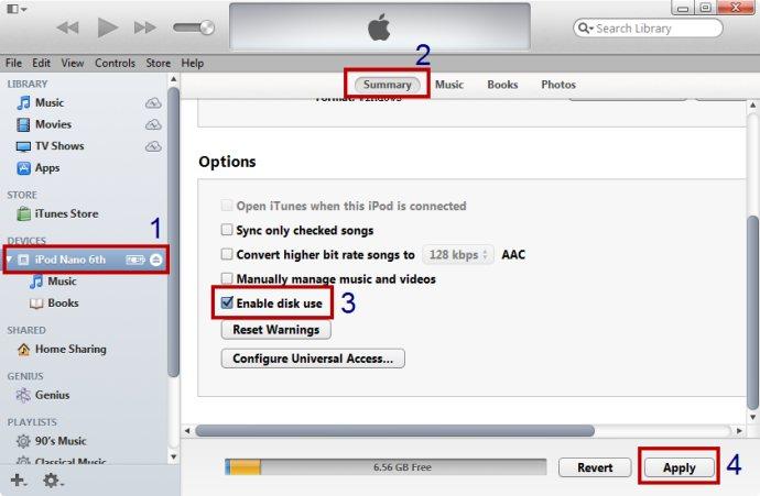trasferire foto da computer a ipod touch con modalita disco