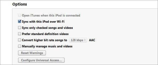 sincronizzazione itunes con ipod tramite wifi