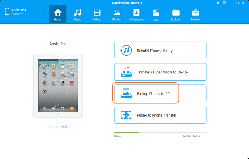 Back up van iPad bestanden naar een Externe hardeschijf - tuensgo step 2