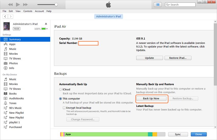 Synchroniseren van de iPad naar de nieuwe Computer door gebruik te maken van iTunes - step 5: Back-up iPad met iTunes