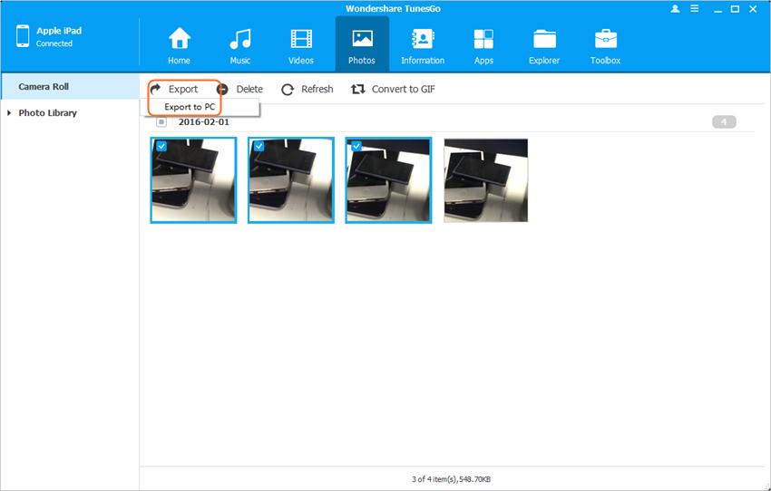 Verwijder Camera Rol foto's in iPad - Back up iPad Foto's