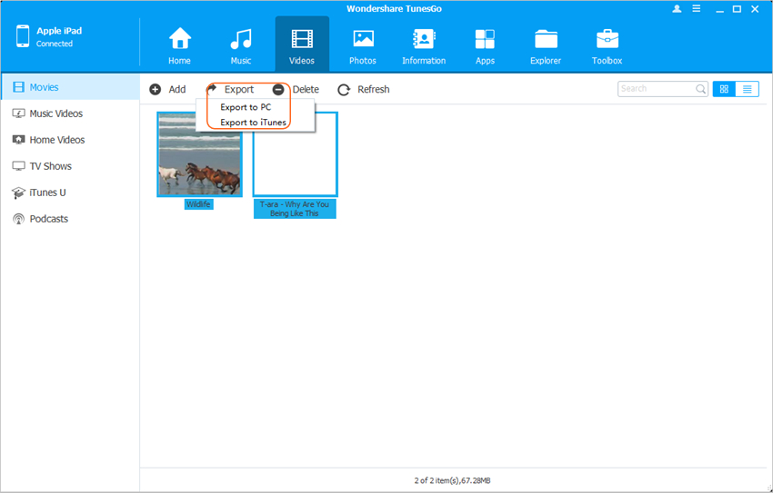 Transfer Videos from iPad to PC - Transfer Videos