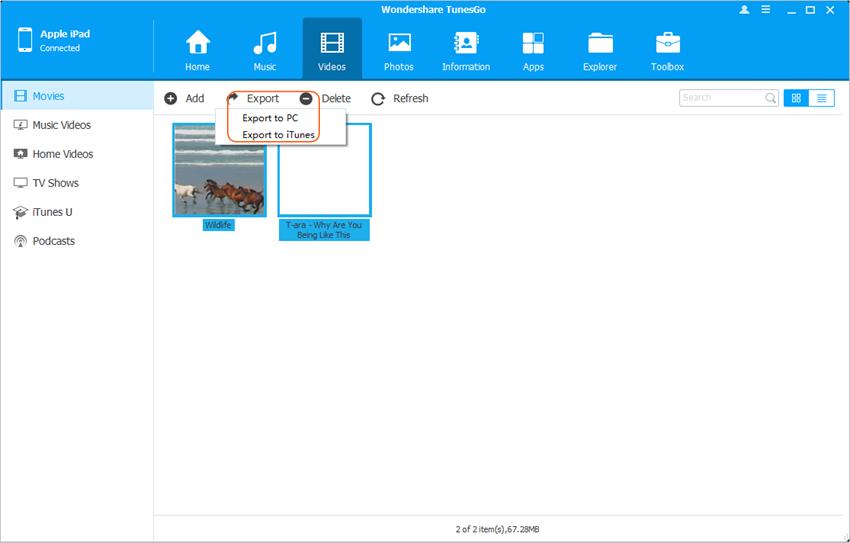 Verplaats films van iPad naar iTunes- Verplaats Films