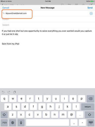 Transfer Notes from iPad to Computer Using Email - step 3: choose Gmail option