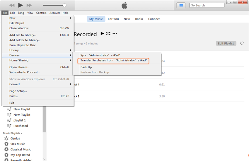 transfer video from iPad to PC with iTunes - Transfer Purchases