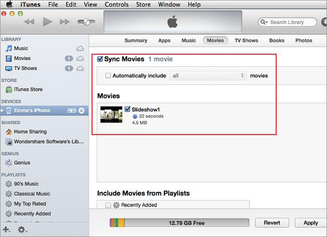 transfer iphone video to mac - itunes step 3