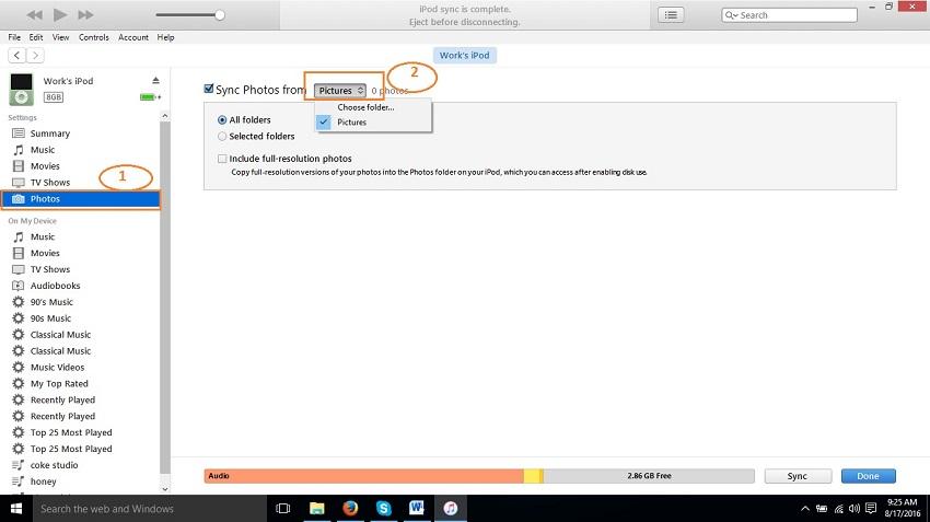 Verplaats foto's van de computer naar de iPod Touch-Sync foto's van