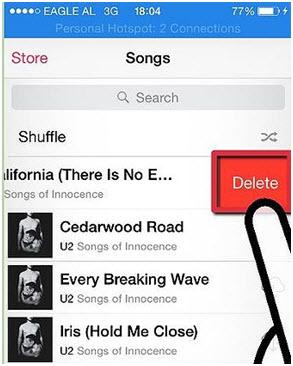 Verwijder liedjes op iphone/ipad/ipod-Delete