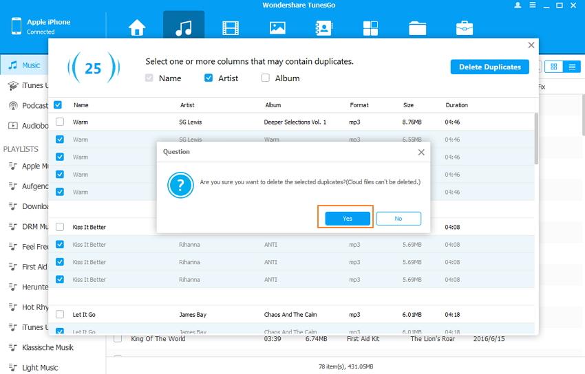 Verwijderen van dubbele nummers op de ipod/iphone/ipad - Verwijderen bevestigen