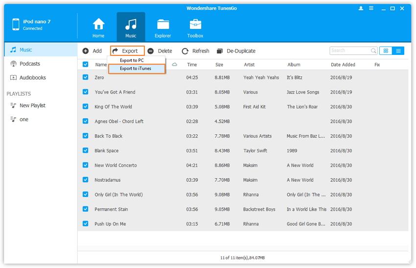 ios transfer - Sync iPod met TunesGo