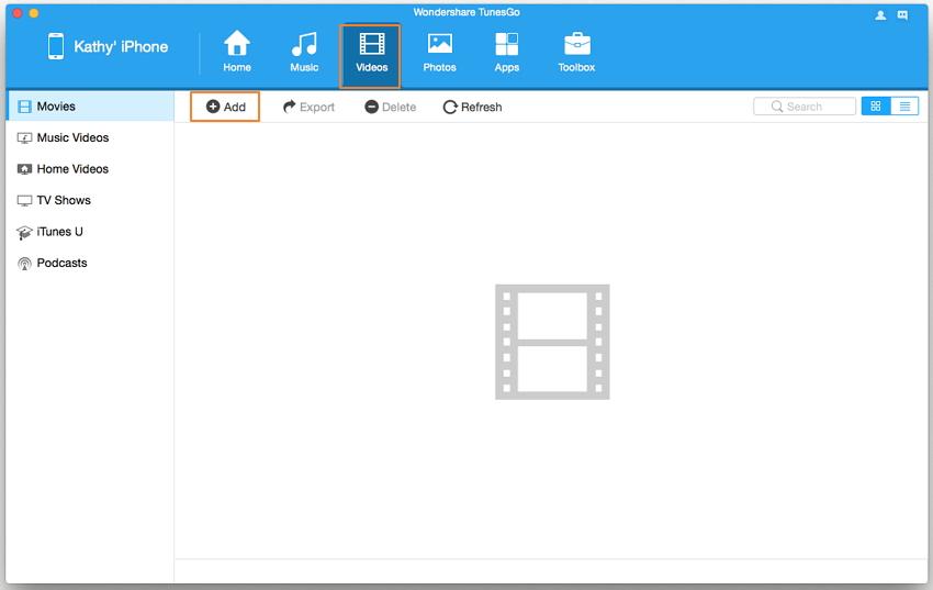 transfer iphone video to mac - add video