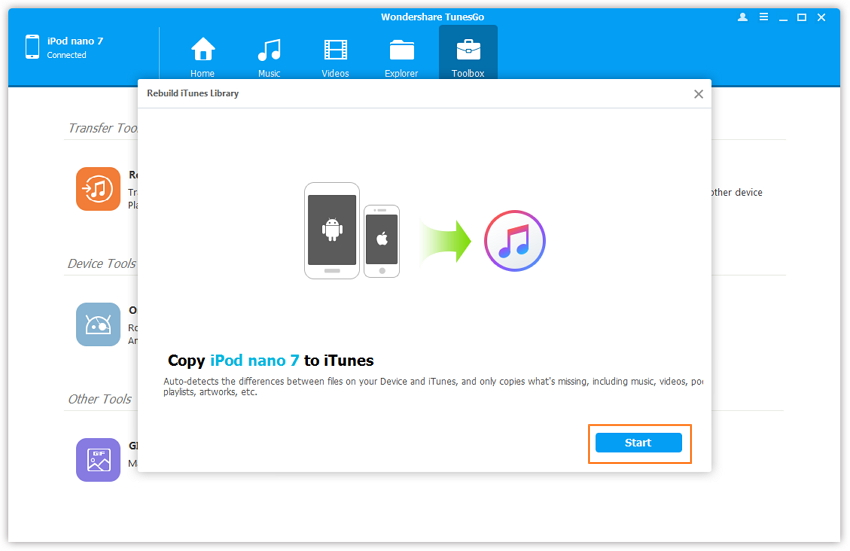 Transfer Non-Purchased Music from iPod to iTunes - Transfer from iPod to iTunes- click Start
