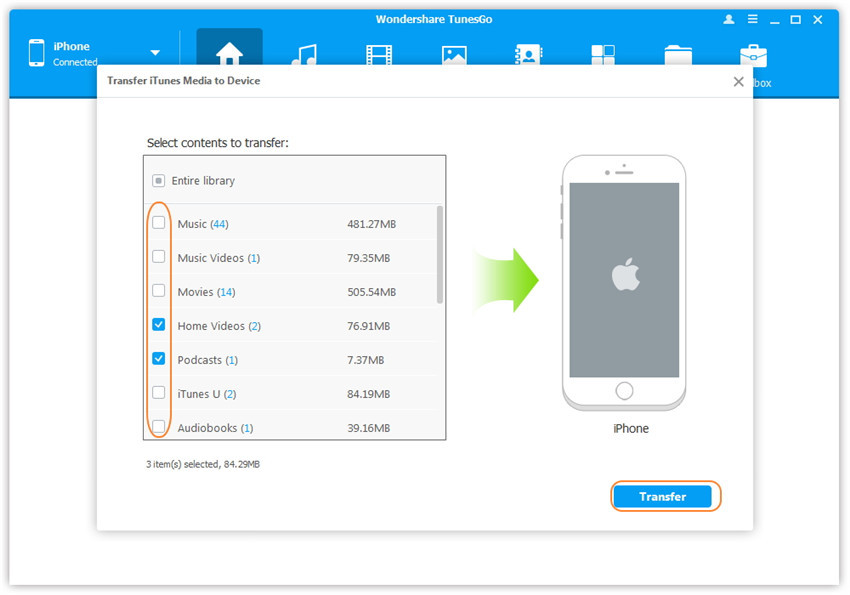 1-click Transfer iTunes Media to Device - Scan and select media contents in iTunes