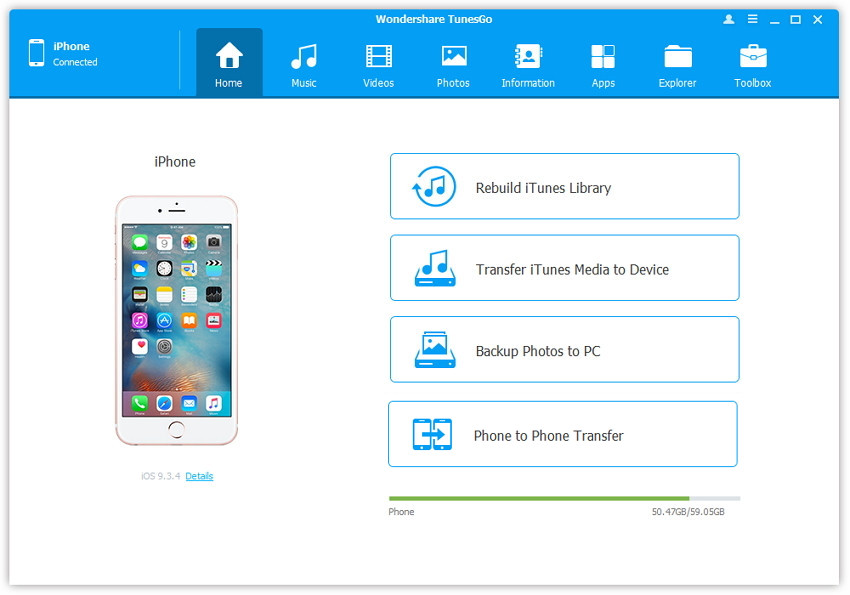 iPhone File Viewer voor Windows en Mac - Start TunesGo en sluit je iPhone aan