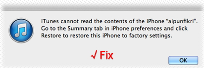 Fix iOS/iPod - iTunes can't read the content of your iDevice