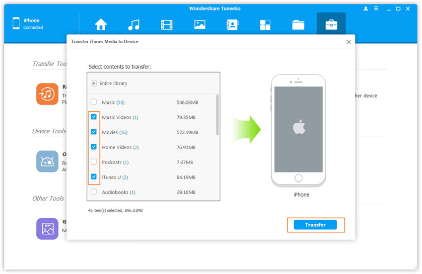 Transfer iTunes Media to Device - Scan and select media contents in iTunes