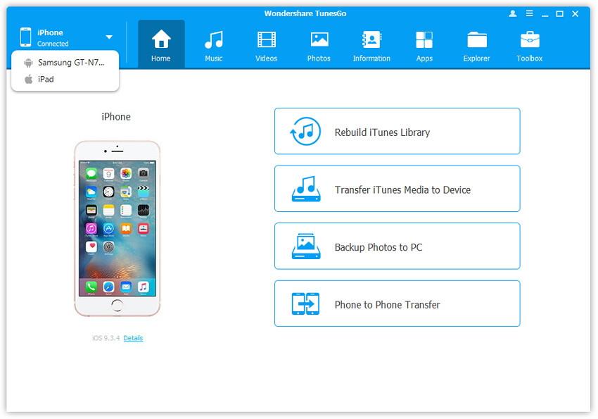 Hoe beheer je je iPhone zonder iTunes - Start TunesGo en sluit je iPhone aan