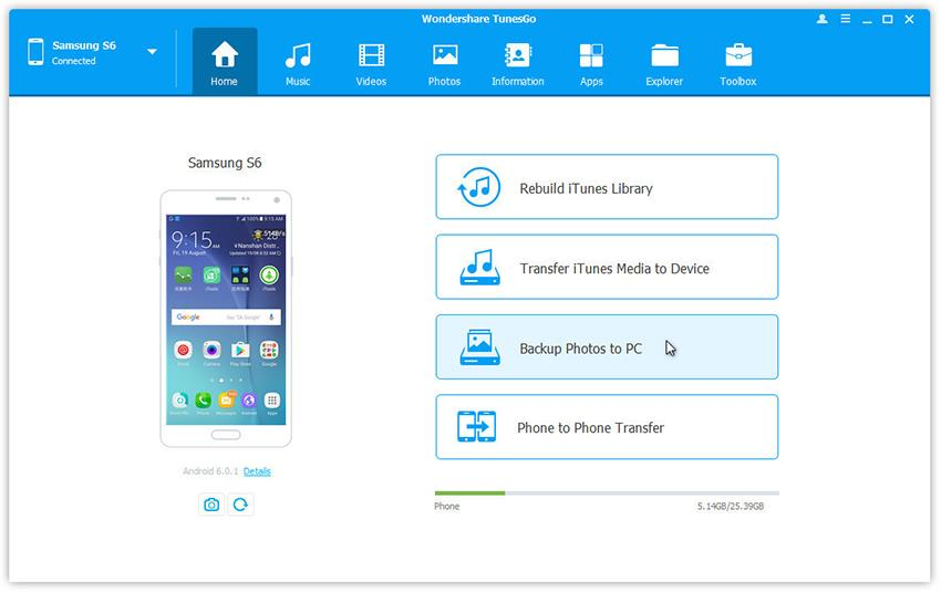 backup samsung note photos in one click