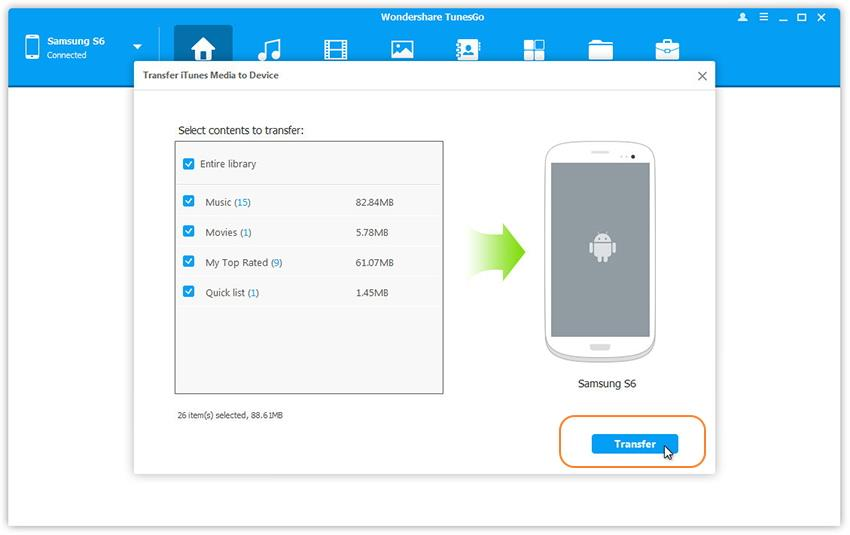Transfer iTunes Media Files to Android phone
