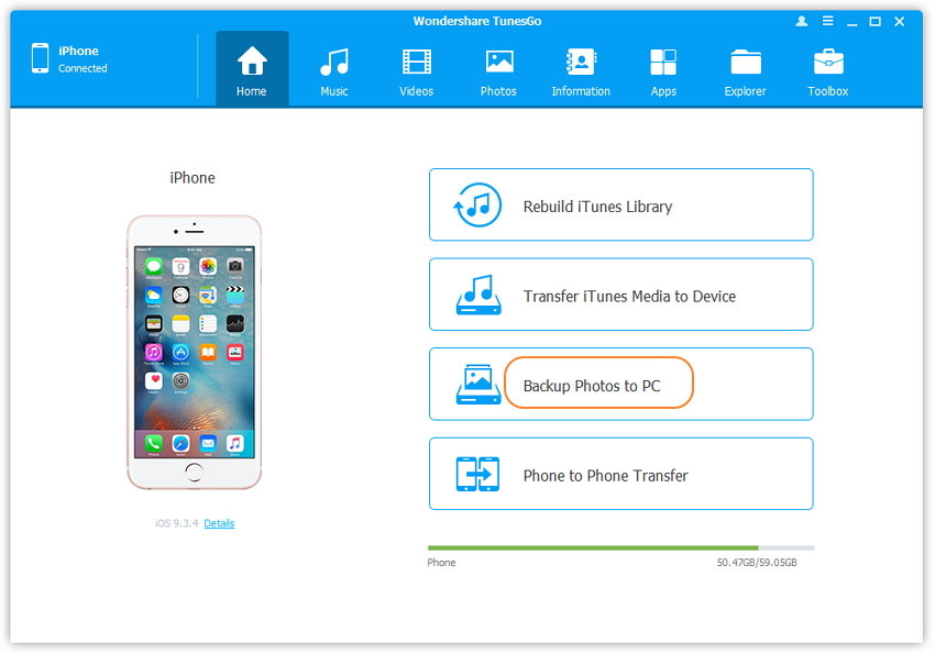 one click transfer iphone photos to pc