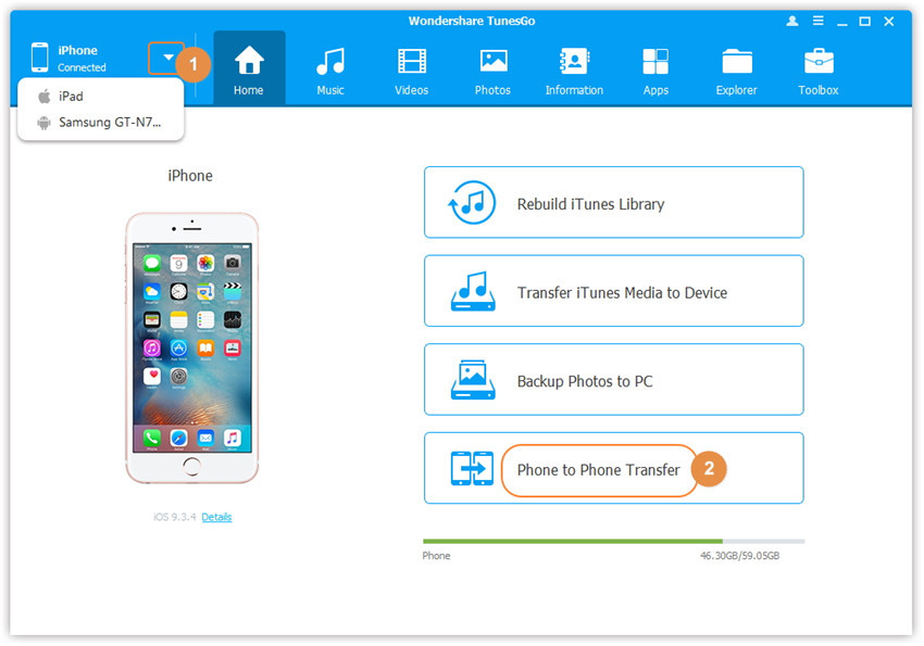 Perform iPhone to Andrid transfer with TunesGo