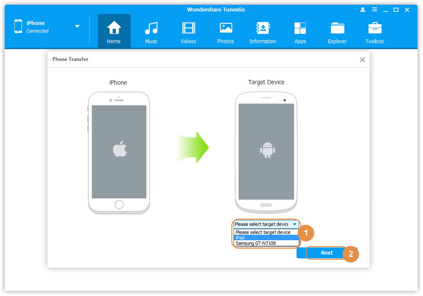 iphone to android transfer with one click