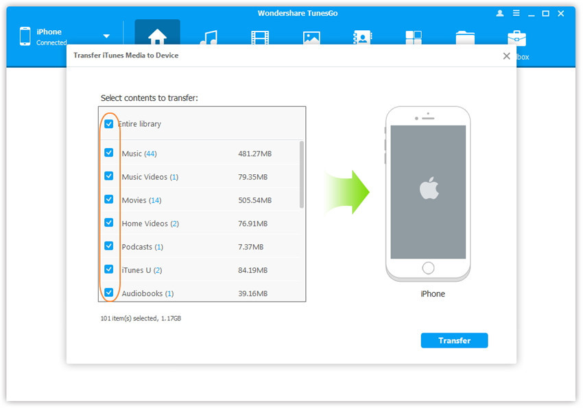 Transfer iTunes U from iTunes to iPhone
