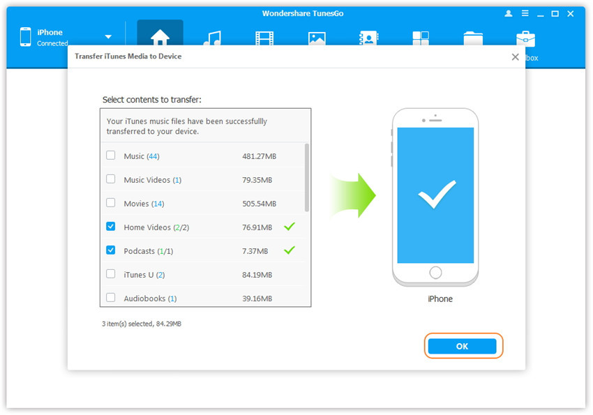 1-click Transfer iTunes Media to Device - Transfer media contents to your iDevice