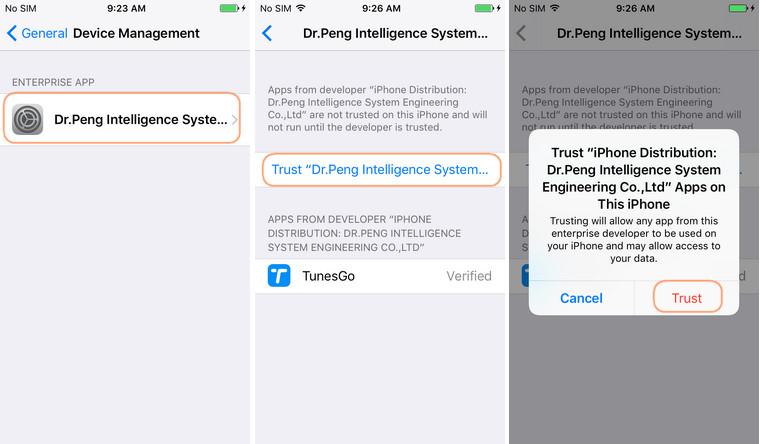 Installieren der TunesGo-App auf dem IPhone