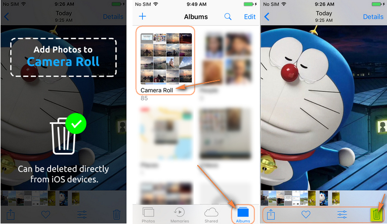 add photos to iphone camera roll