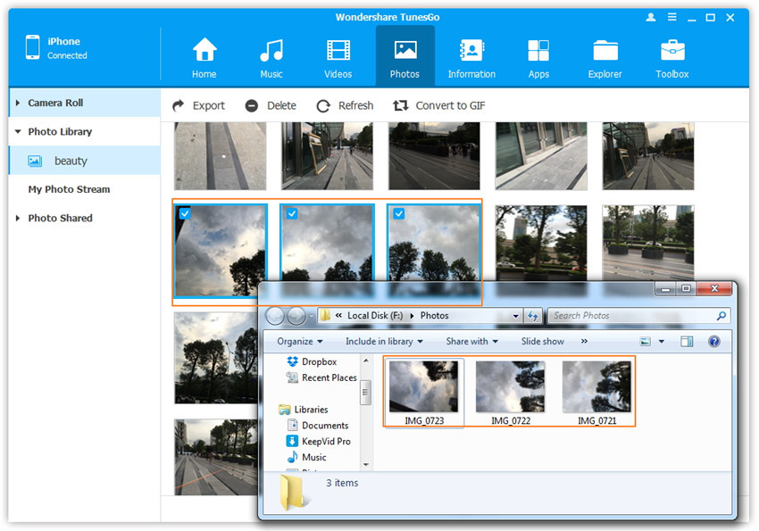 transfer non camera rolll pictures to pc