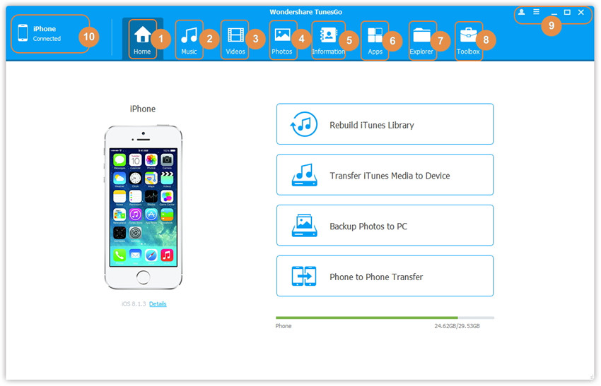 Melhor iPhone File Browser - Inicie o TunesGo e conecte o iPhone