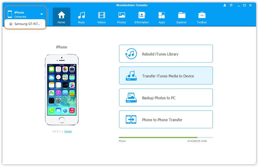 TunesGo User Interface - Information